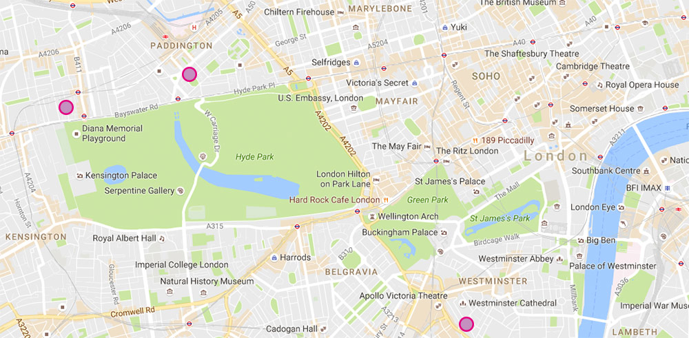 London tantric massage parlours map